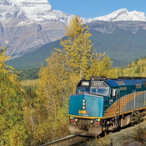 Train travelling through evergreen forests in front of Mount Robson in Jasper national Park