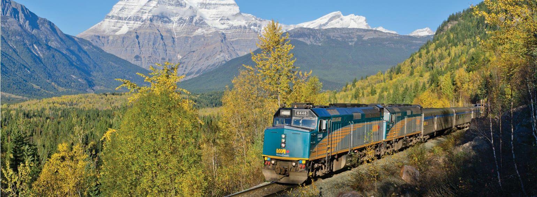 A train near the Rocky Mountains