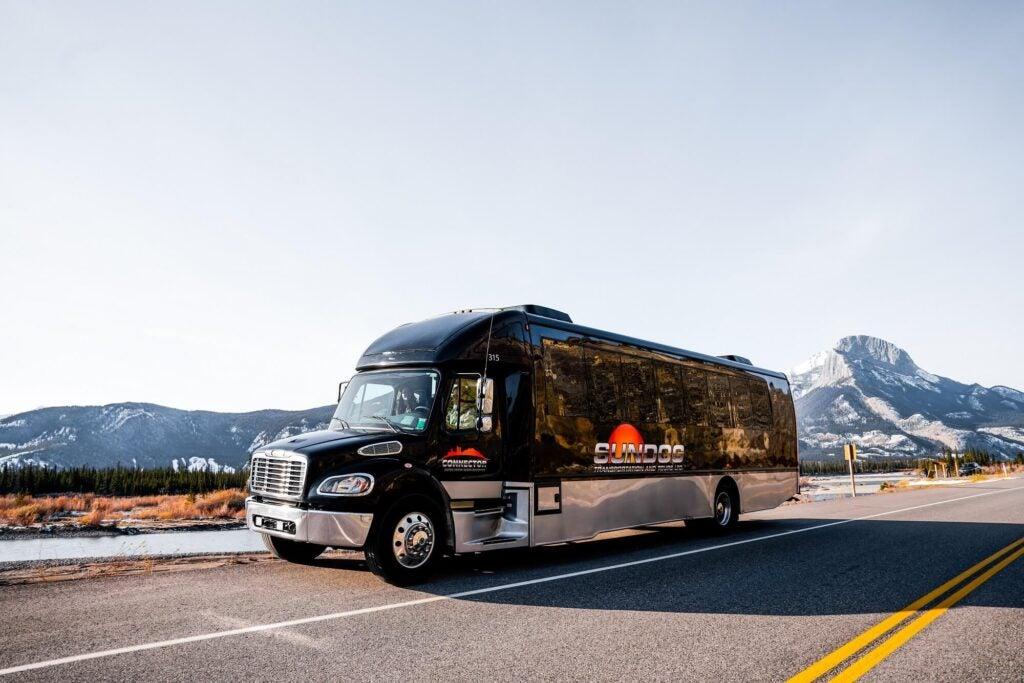 Jasper to Edmonton SunDog Tours bus on the highway