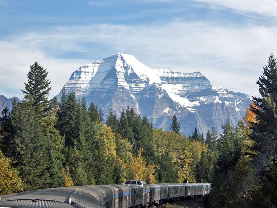 A closer view of Mount Robson's peak, just above the Jasper Train