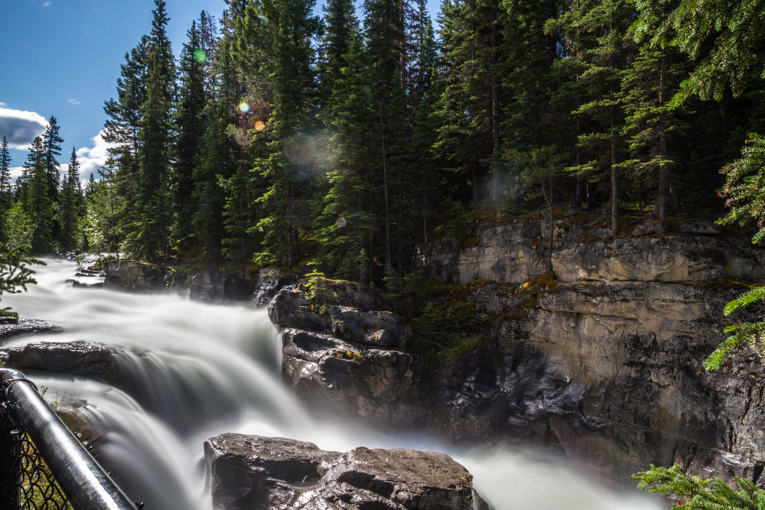 maligne canyon waterfalls on a sunny day