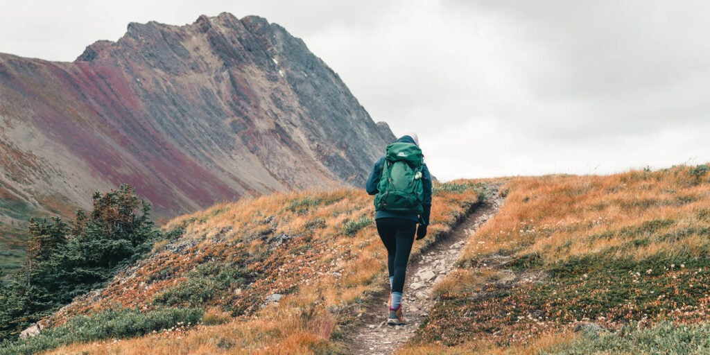 Hiker with a green backpack starts up a trail